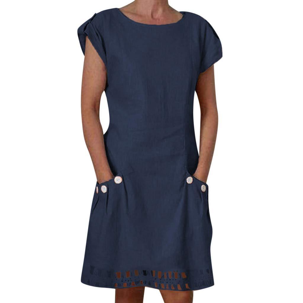 Vestidos Casual para Mujer Cortos Verano 2019,PAOLIAN Vestidos Lino Fiesta Playa Elegantes Manga Cortas Basicas Talla Grande con Bolsillo Cuello Redondo V