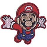Super Mario Salto Flying Mario Bros Mario Video Game Patch Comic Niños 9 x 7.5 cm - Parche Parches Termoadhesivos Parche Bordado Parches Bordados Parches Para La Ropa Parches La Ropa Termoadhesivo Apliques Iron on Patch Iron-On Apliques