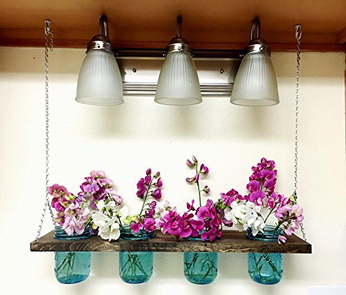 Indoor/Outdoor Chandelier, shabby, chic, lantern, mason jar lights, candle holder, hanging herb garden. pool side lighting, patio lights by Belwoods