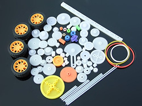 Lanyani 78pcs Plastic Gear Kit DIY Gear Assortment set for Toy Motor Car Robot Various Gear Axle Belt Bushings (Toy Car Plastic)