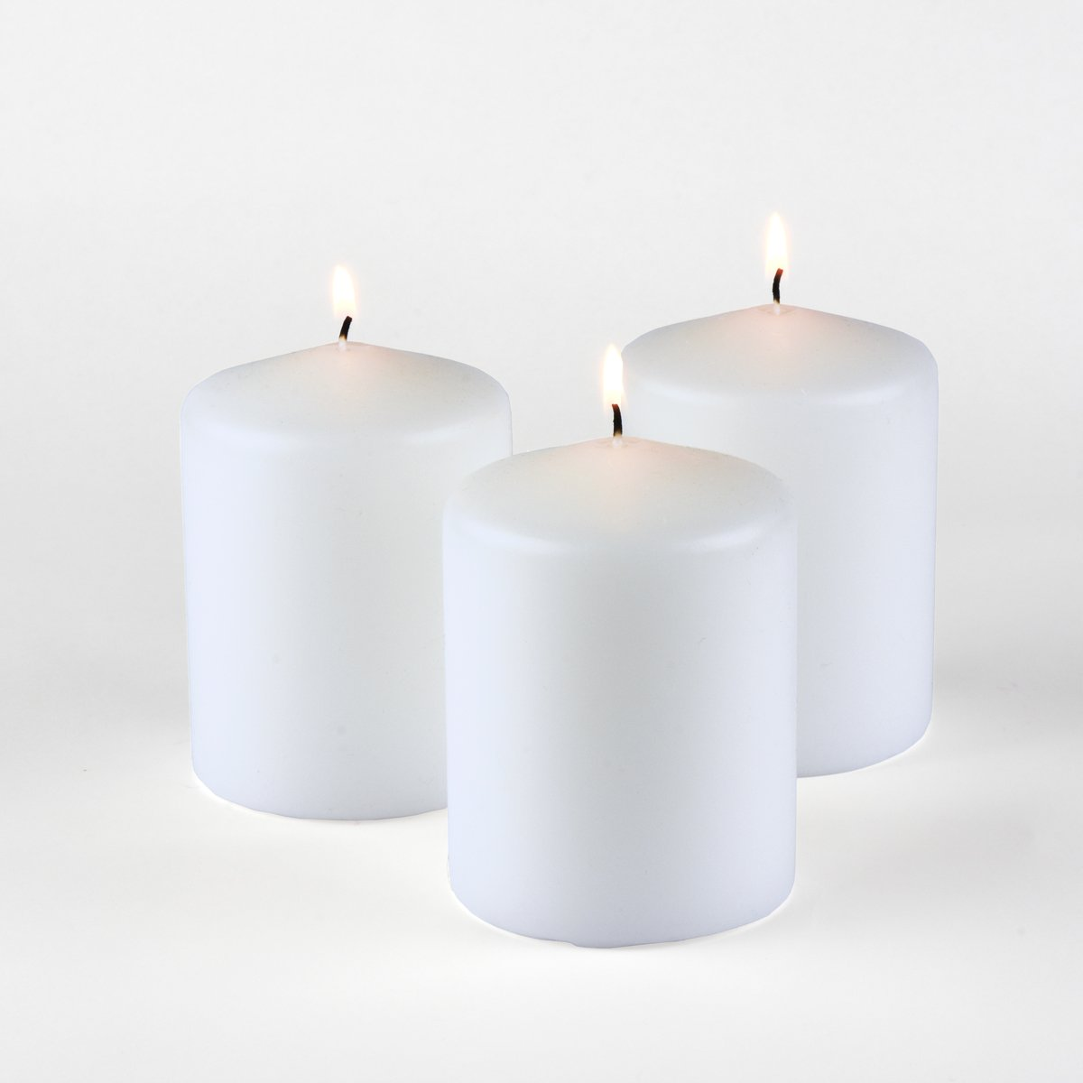 Higlow Dripless Pillar Candles Unscented Elegant Brides Wedding Decoration Centerpieces, Parties, Gifts, 3'' L x 3'' H x 4'' W, White, Set of 3
