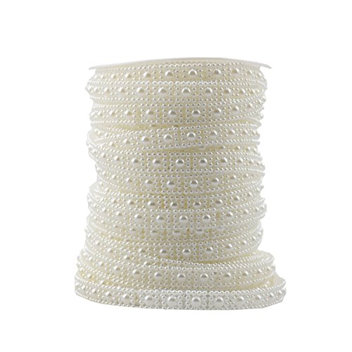BoJia 10mm Square Snow Flower shaped Crystal Beads for DIY Wallet accessories 25 meter/80ft ABS Wedding Garland,Decorate your Christmas tree,DIY Clothing DIY Bracelet (White)