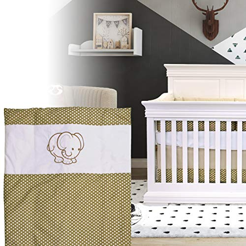BOOBEYEH & DESIGN 5PCS Bedding for Baby - Elephant Pattern, Beige and White