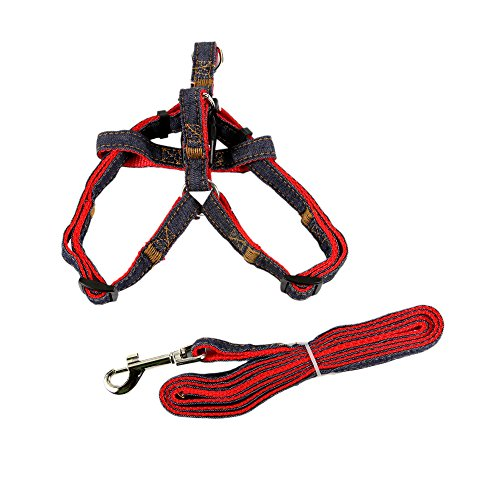 kathson Dog Leash and No-pull Adjustable Harness -Double Padded, Solid -Easy Step-In and Fit Pet Reflective Dog Harness (Red Medium)