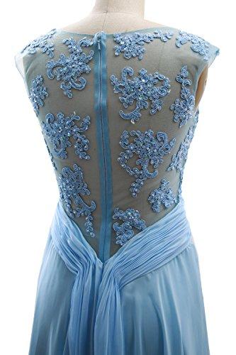 MACloth Elegant Cap Sleeves Long Prom Dress Lace Chiffon Formal ...