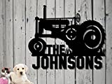 Tractor Farm Family Name Custom Sign Steel Hand Made Metal Sign (23.5 w x 20 3/4 h) 1927 John Deere Antique Tractor Personalized Sign Father's Day Gift