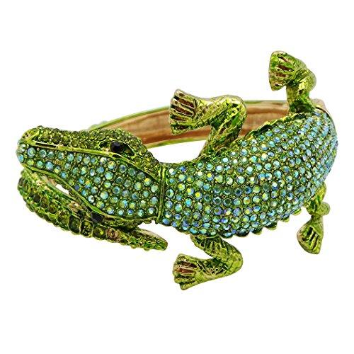 Rosemarie Collections Women's Stylized Rhinestone Alligator Statement Bangle Bracelet (Green/Gold)