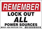 Brady 3 1/2'' X 5'' Black/Red/White Polyester Label''LOCK OUT ALL POWER SOURCES''