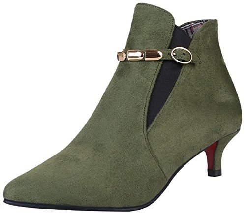 Easemax Women's Sexy Buckle Faux Suede Mid Kitten Heel Pointed Toe Short Ankle High Boots Army Green