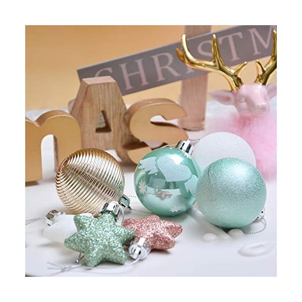 Valery Madelyn Palle di Natale 35 Pezzi 5cm Palline di Natale, Elegante Palazzo Verde Menta e Oro Rosa Infrangibile Ornamenti Palla di Natale Decorazione per Albero di Natale Decor 4 spesavip
