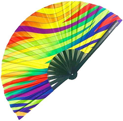 Pride Fans Vivid Zebra Rainbow Large Bamboo Durable Fabric Loud Clacks LGBTQ Pride Fan Rave Fan Festival Fan
