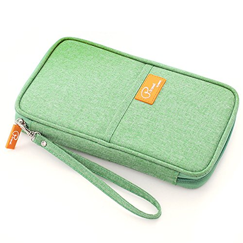 KAIL Travel Wallet Passport Holder Credit ID Card Purse Case Document Organiser Bag Handbag/Clutch bag (green)