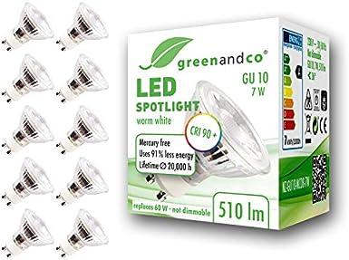 10x Spot LED greenandco® IRC90+ 3000K 36° GU10 7W (corresponde a 60W) 510lm SMD LED 230V AC, sin parpadeo, no regulable
