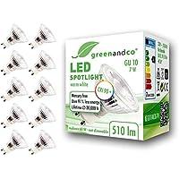 10x greenandco® CRI 90+ 3000K 36° LED-spot ersätter 60W GU10 halogenstrålkastare, 7W 510lm varmvit 230V AC, flimmerfri…