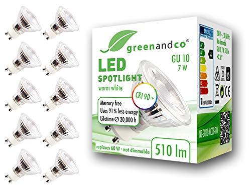 10x Spot LED greenandco® IRC90+ GU10 7W (corresponde a 60W) 510lm 3000K (blanco cálido) SMD LED 36° 230V AC, sin parpadeo, no regulable