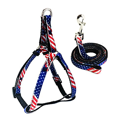 Bark Lover Adjustable Harness Leash & Traction Rope with American Flag Pattern & Camouflage Pattern,for Dogs and Cats Daily Training Walking Running (M, US Flag)