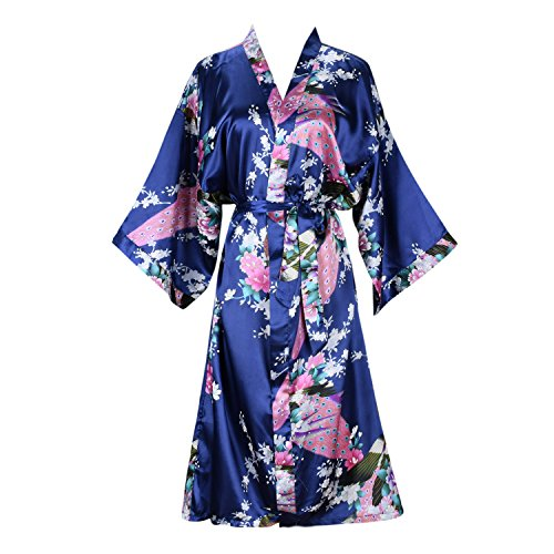 Blossom Peacock - ellenwell Women's Kimono Robe Peacock & Blossoms Satin Nightwear(Small,Navy)