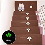 Lldaily With Self-adhesive Luminous Stair Pad Skid-Resistant Rubber Backing Non-Slip Carpet Stair Treads,27.5''x8.7'',Set of 5,Clover-coffee
