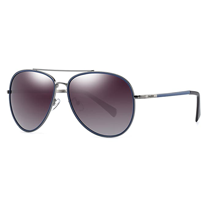 b7639da4b5 PARIM Gradient Polarized   UV Protected Dual Frame Color Metal Aviator  Sunglasses for Men   Women ...