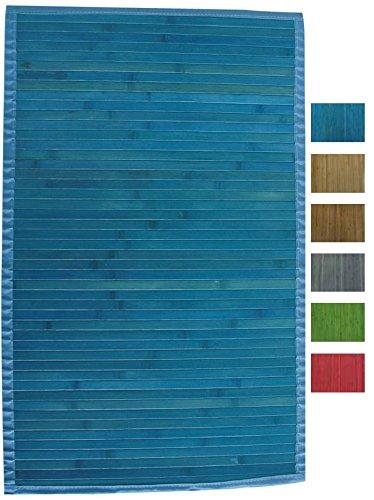MSV Tapis bambou bleu 60 x 90 cm Salle de bain et WC Salle ...