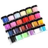 Acrylic Powder, Huikai 24 Colors Acrylic Nail Powder Nail Art Tips UV Gel Powder DIY Decorations Set