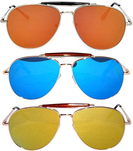 3 Pack Aviator Brow Bar Sunglasses UV Protection Color Lens Metal Frame Unisex (Flat-063-C3-C5-C10, - Brow Sunglasses Mens Flat