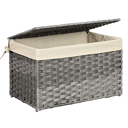 SONGMICS Storage Chest with Lid, Storage Trunk with Cotton Liner and Metal Frame, Storage Basket Decorative Bin for Bedroom Closet Laundry Room, Rattan-Style, 21.9 x 13.4 x 13.4 Inches, Gray URST56WG (Bins Rattan)