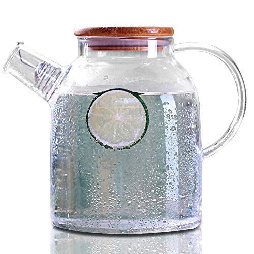 Cupwind Glass Pitcher with Wood Lid, Hot/Cold Water Carafe, Juice and Tea Beverage Jug 61 Ounces (1800ML-P) by Cupwind