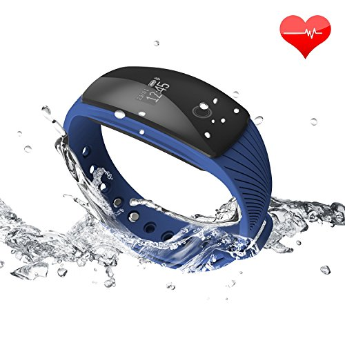 Fitness Tracker HR Monitor RIVERSONG Waterproof Heart Rate Monitors Activity Smart Bracelet Sleep Monitors Pedometer Calorie Tracking Wristband Updated Version for iPhone and Android Phones (Blue)