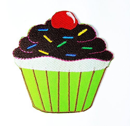HHO Blue Lava Cupcake Cherry patch Embroidered DIY Patches, Cute Applique Sew Iron on Kids Craft Patch for Bags Jackets Jeans (Lava Cupcakes)