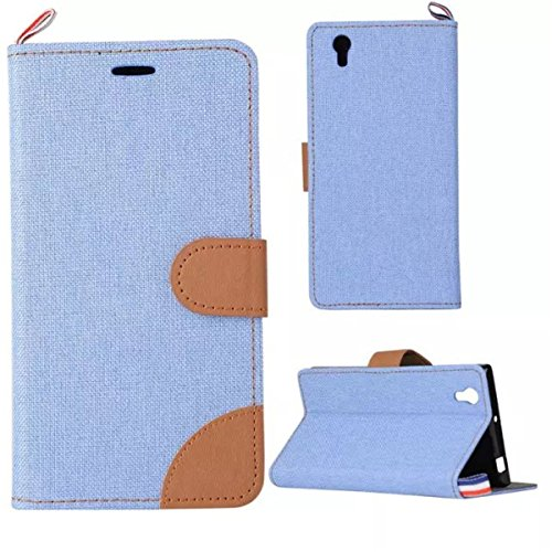 Lenovo P70 Case,Gift_Source [Card Slot] [Double Color Stitching] Fashion Slim Denim Fabric Design Premium PU Leather Magnetic Closure with Stand Flip Folio Cover for Lenovo P70 P70t [Light blue]