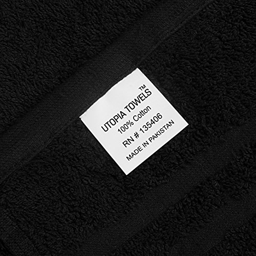 Utopia Towels Cotton Bleach Proof Salon Towels (24-Pack, Black,16 x 27 inches) - Bleach Safe Gym Hand Towel by Utopia Towels (Image #3)