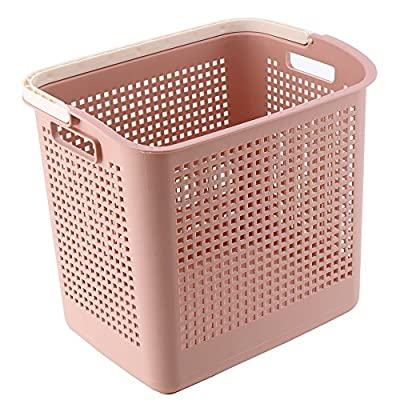 IMPR3·TREE Multipurpose Mall Stackable Carry Laundry Hamper Luxury Collection Plastic Storage Basket Bins w/Easy Grip Handle, Pink - Durable plastic laundry hamper is long-lasting,flexible soft handles make it easy to grab with one hand,Organizing everything from toys to laundry. Tall shape of laundry basket makes it easier to carry or haul around,smooth-gliding Thermo-Rubber wheels protect floor during use and allow for easy maneuvering on carpets, wood tile floors, or across concrete. Clothes Organizer: Helps keeps dirty laundry neat and tidy without being an eye sore like most hampers. Large enough to hold multiple loads of laundry. - laundry-room, hampers-baskets, entryway-laundry-room - 51%2B0xqMWNpL. SS400  -