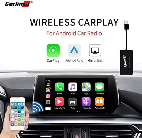 Carlinkit Wireless Carplay Dongle Adapter Only for Car with Android Head Unit Navigation Player, add Function Carplay Android Auto Mirror Screen Support iOS13,USB Carplay Smart Link Bluetooth Black