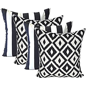 High Quality Set Of 4   Indoor / Outdoor Square Decorative Throw / Toss Pillows   Black  And