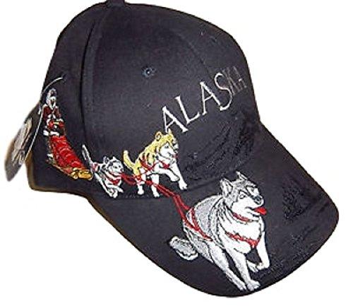 Alaska Husky Dog Team Sled Dog Detailed Ball Cap Hat Black