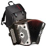 Hohner Panther G, C, F Key Combination Diatonic Accordion (Black) BUNDLE with Gig Bag
