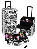 SHANY Zebra Rolling Trolly Makeup Case, Light Weight, 12 Pounds, Bags Central