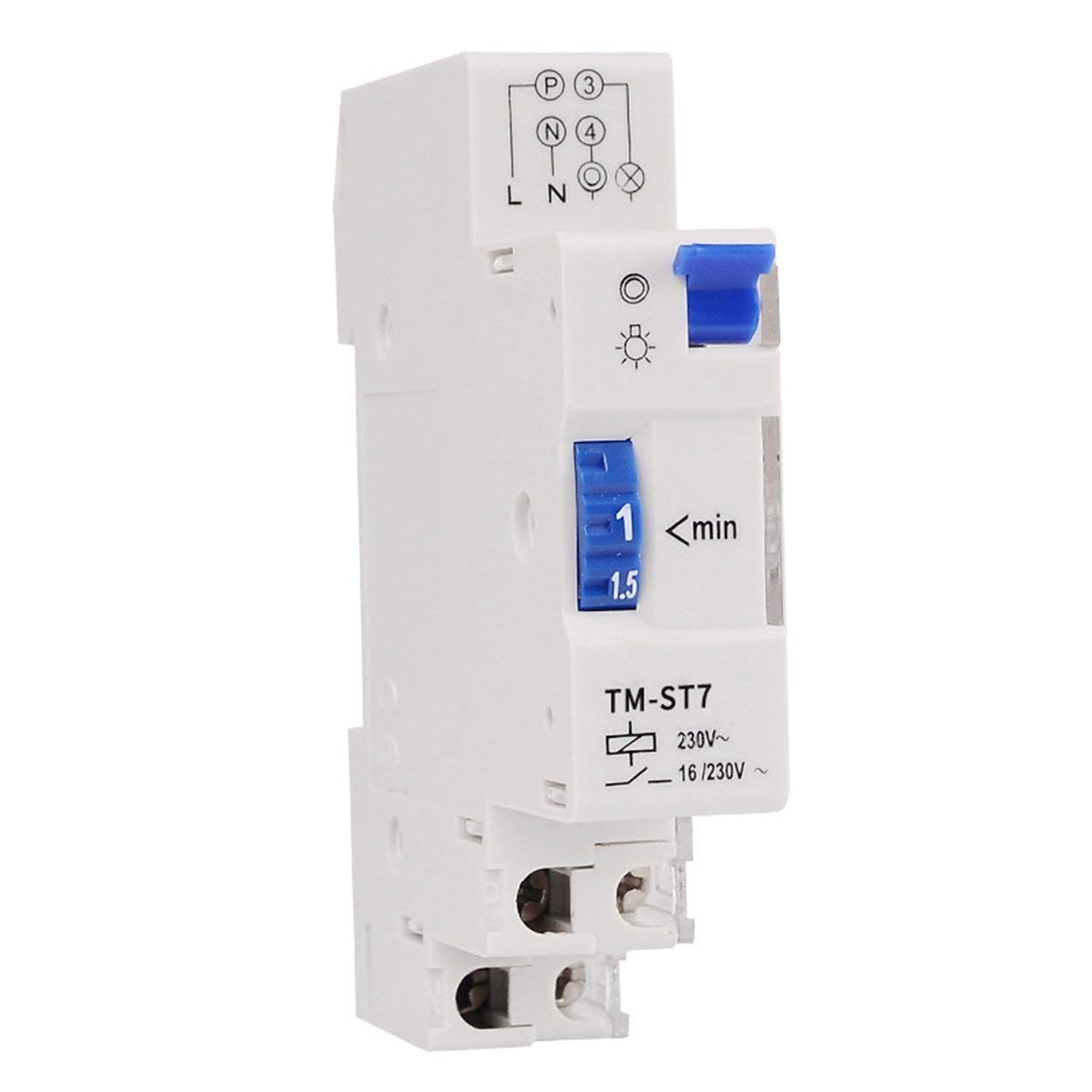 Lorenlli para TM-ST7 220V 7 Minutos Temporizador mec/ánico 18 mm M/ódulo /único DIN Rail Escalera Temporizador Interruptor de Tiempo Instrumentos