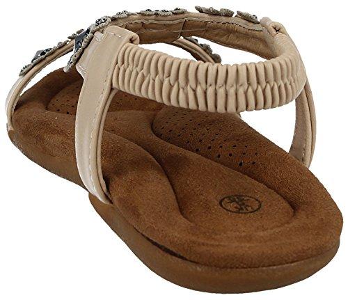 Ladies Summer Faux Shoes Back Metallic Beige Bar Chix 287481 Sling Size PU T Flat 3 Sandals Peep Leather Toe 8 Flower Stud ZETrZwxFqn