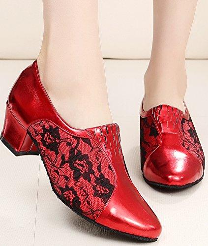 CFP toe Red PU JJ Practice 7008A shoes Block Womens Dance Round Sneaker Heel 6wOrp687qn