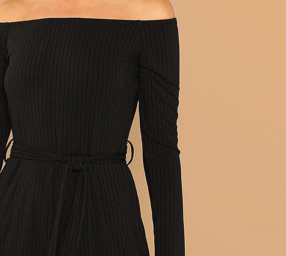 WUISDE Black Casual Off Shoulder Tie Waist Solid Wide Leg Long Sleeve Mid Waist Jumpsuit Autumn Women Jumpsuits