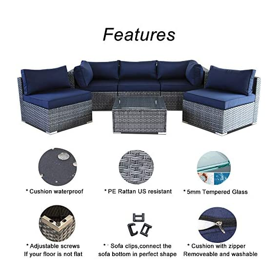JETIME Outdoor Rattan Furniture 6pcs Patio Grey Conversation Set Garden Sofa Set Sectional Couch with Navy Cushion - -Outdoor 6pcs Sofa set Size:-Corner Sofa:29.5 x 29.5 x 25.6 in -Middle Sofa: 25.6 in x 29.5 in x 25.6 in -Tea Table 25.6 in x 25.6 in x 13.4 in -Seat Sofa Height:13.4 in -Back Sofa Heigt:25.6 in -Cushion thickness:4 inch -Patio Rattan Furniture Material:PE Rattan,Steel Frame ,Polyester Fabric,Cushion is waterproof. -Garden Wicker Conversation Sofa includes:-1 x Tea Table/Ottoman -2 x Corner Sofas -3 x Middle Sofas - patio-furniture, patio, conversation-sets - 51%2B0yqGoQUL. SS570  -