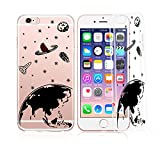 iPhone 8 Plus / 7 Plus, Colorful Rubber Flexible Silicone Case Bumper Clear Cover - Black Outline Galaxy Spaceman Earth Planet Universe