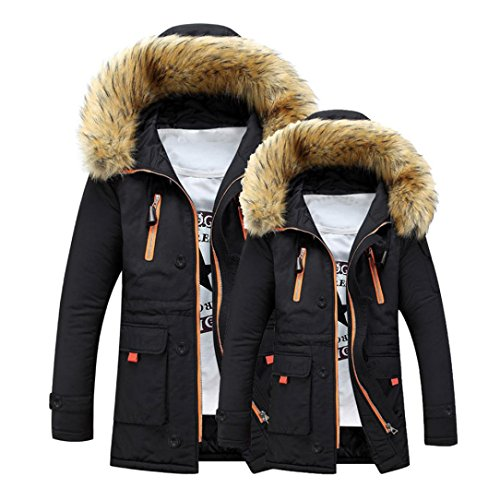 Hot Sale!Todaies Unisex Outdoor Fur Wool Fieece Coat Women Warm Winter Coat Men Long Hood Coat Jacket (M, Black)