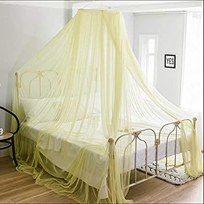 Image of Home and Kitchen AILY Bed Canopy for Princess Girls Mosquito Net, Round Lace Dome Canopy Bed Curtains for Single to King Size Beds, Yarn Play Tent Bedding House Decoration Reading Nook Cotton,Yellow,1.35m(4.5ft) Bed