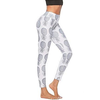 c11cb3111ac61 Women's Pineapple Print Leggings, High Waist Soft Active Stretch Yoga Pants  for Running Sports Fitness
