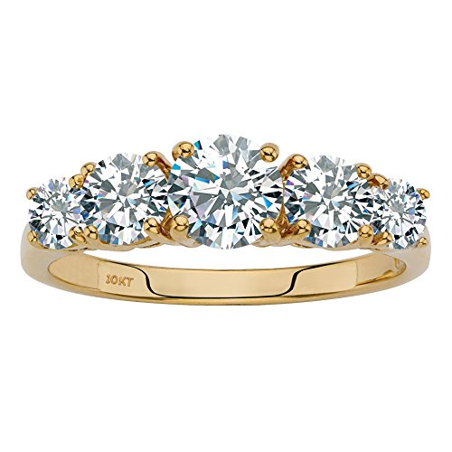 Solid 10K Yellow Gold Round Cubic Zirconia Anniversary Ring Size 8 Solid 10k Gold Shank