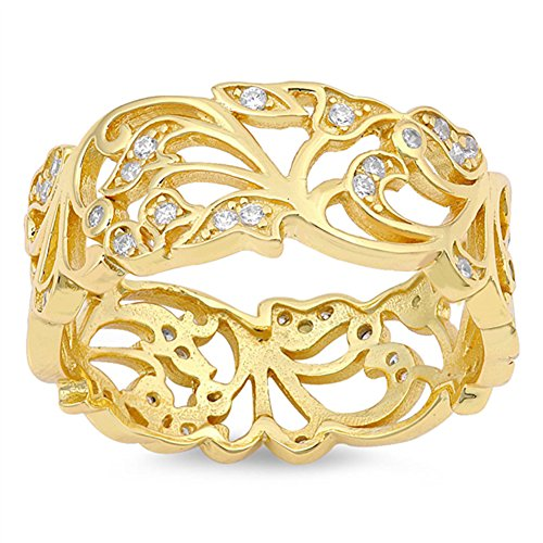 Yellow Gold-Tone Filigree White CZ Wide Ring 925 Sterling Silver Band Size 9 -