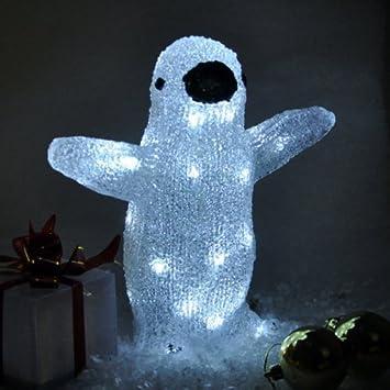Garden Mile Cristal Grande de Pie Blanco Brillante Navidad Reno trineo oso polar Pingüino luminoso con bombillas LED, Interior Exterior Jardín Navidad ...